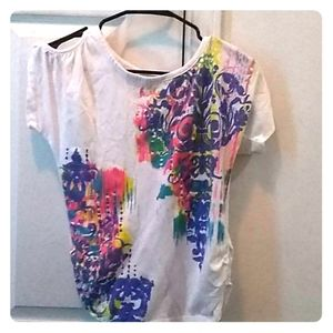Cato Shirts & Tops - Kids girls white tee. Colorful pattern